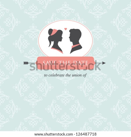 wedding invitation card template editable with wedding couple illustration and wedding background - stock vector