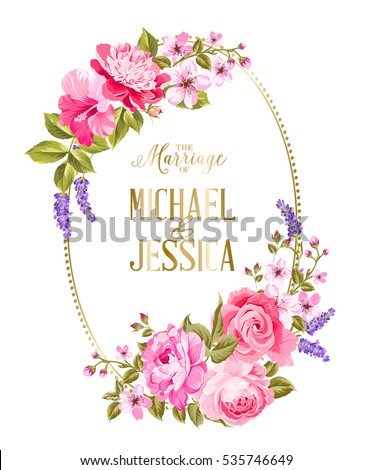 Wedding Invitation Card Template Frame Tropic Stock Vector
