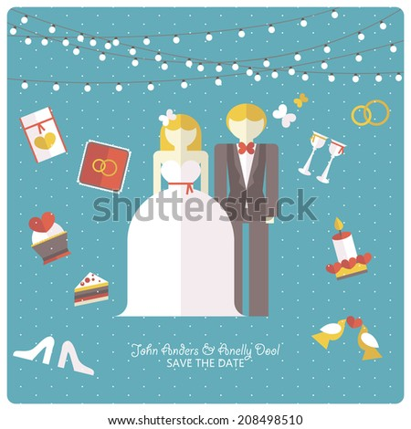 wedding invitation card template in flat design - stock vector