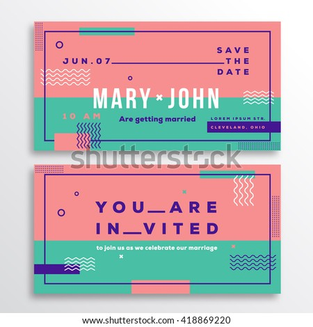 Vector wedding invitation template modern typography stock vector wedding invitation card template modern abstract flat swiss style background with decorative stripes zig stopboris Image collections
