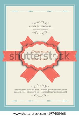 wedding invitation card template vector - stock vector