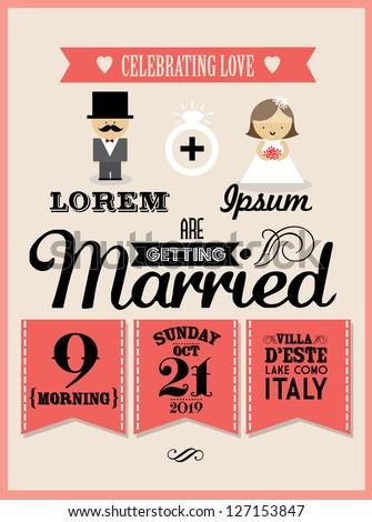 wedding invitation card template vector/illustration