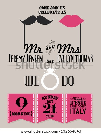 wedding invitation card template vector/illustration