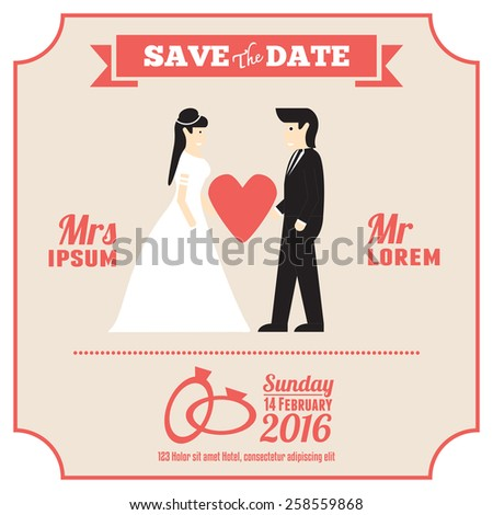 wedding invitation card template with cartoon couple bride and groom