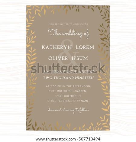 Gold Wedding Invitation Images RoyaltyFree Images – Brown and Gold Wedding Invitations