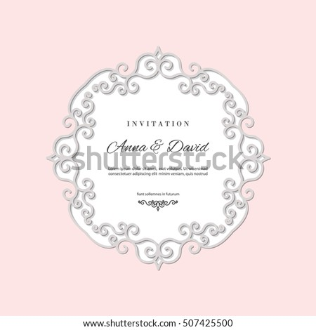 Wedding Invitation Card Template Laser Cutting Stock Photo (Photo ...