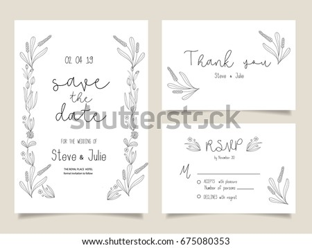 Wedding invitation card template text stock vector 675080353 wedding invitation card template with text stopboris Images