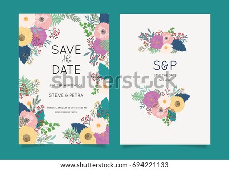 Wedding invitation card template text stock vector 2018 694221133 wedding invitation card template with text stopboris Choice Image