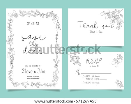 Wedding invitation card template text flower stock vector hd wedding invitation card template with text and flower stopboris Gallery