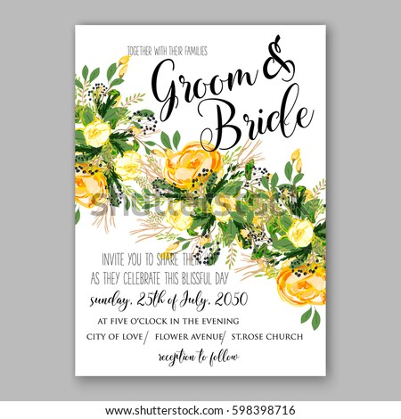 wedding invitation card template yellow rose stock vector 598398716