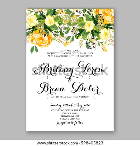 Wedding Invitation Card Template Yellow Rose Stock Vector HD