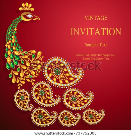 Wedding invitation card templates gold patterned em vetor stock wedding invitation card templates with gold patterned and crystals on background color stopboris Images