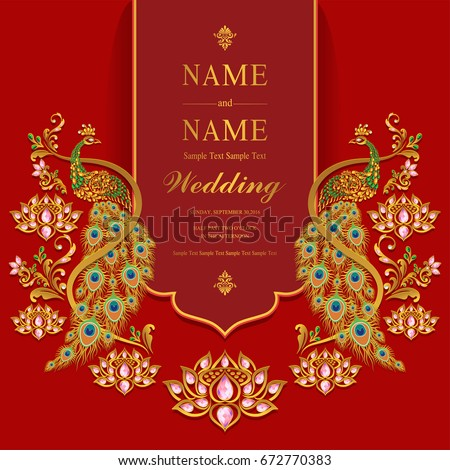 Wedding invitation card templates gold peacock stock vector 2018 wedding invitation card templates with gold peacock with lotus patterned and crystals color on paper stopboris Choice Image