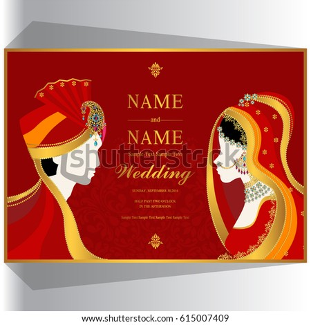 Wedding invitation card templates indian man stock vector wedding invitation card templates with indian man and woman in traditional clothes on paper color stopboris Image collections