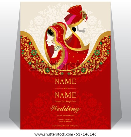 Wedding invitation card templates indian man stock vector wedding invitation card templates with indian man and woman in traditional clothes on paper color stopboris Gallery
