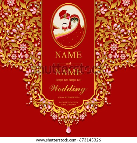 Wedding invitation card templates indian man stock vector 2018 wedding invitation card templates with indian man and women traditional costumes wedding and crystals on paper stopboris Image collections
