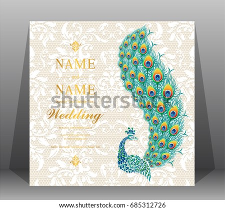 Wedding invitation card templates peacock patterned stock photo wedding invitation card templates with peacock patterned and crystals on on lace floral pattern background stopboris Image collections
