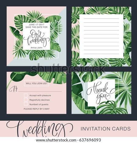 Wedding invitation card tropical background banana stock vector hd wedding invitation card tropical background banana save the date vector template stopboris Images