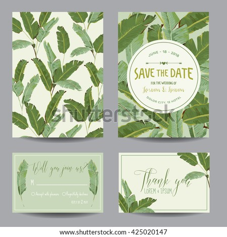 Wedding Invitation Card. Tropical Flowers Background. Banana Flowers. Save the Date.  Vector Tropical. Invitation Template. Wedding Theme. RSVP.