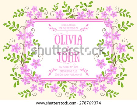 Wedding invitation card. Vector invitation card with floral elements on the abstract background and elegant frame with text.  - stock vector