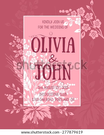 Wedding invitation card vector invitation card stock vector hd wedding invitation card vector invitation card with floral elements on the background and elegant frame stopboris Choice Image