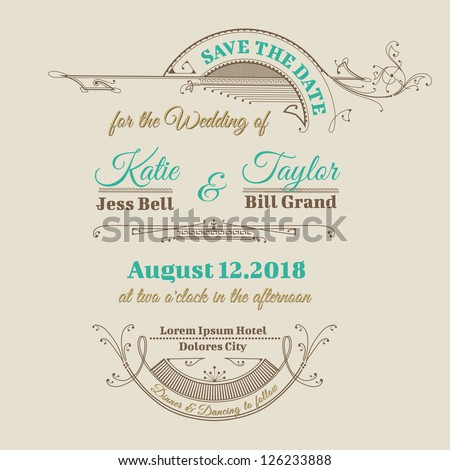 Wedding Invitation Card - Vintage Frame Theme - in vector - stock vector