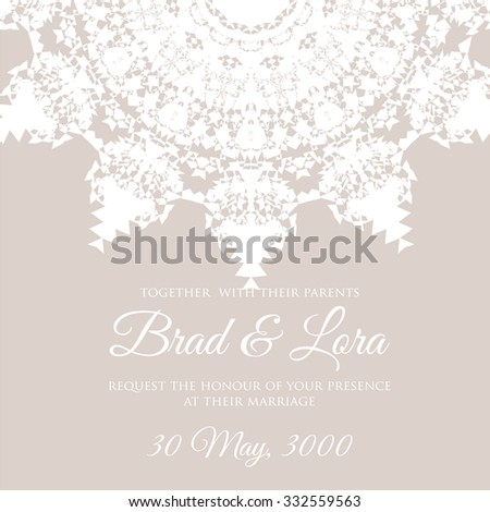 Wedding invitation Card with a white lace. Floral Background. Vector greeting card.