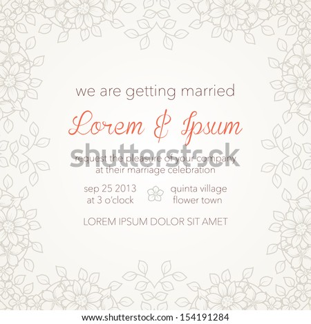 Wedding invitation card with abstract floral background. Elegant light background. - stock vector