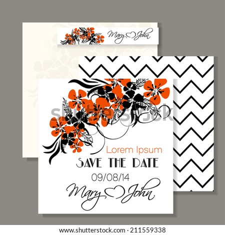 Wedding invitation card with abstract floral background. Vector
