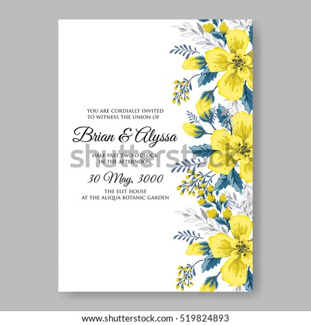 Wedding invitation card abstract yellow floral em vetor stock wedding invitation card with abstract yellow floral background romantic yellow peony bouquet bride wedding invitation stopboris Gallery