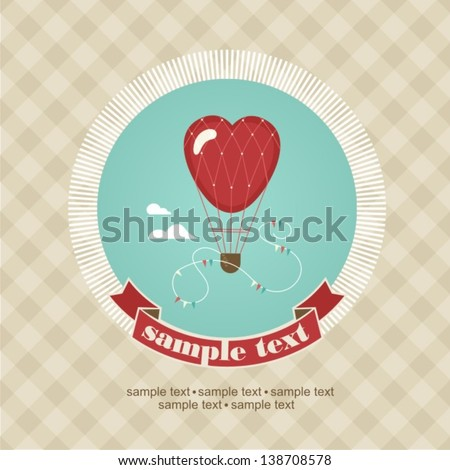 Wedding invitation card with air balloon - stock vector