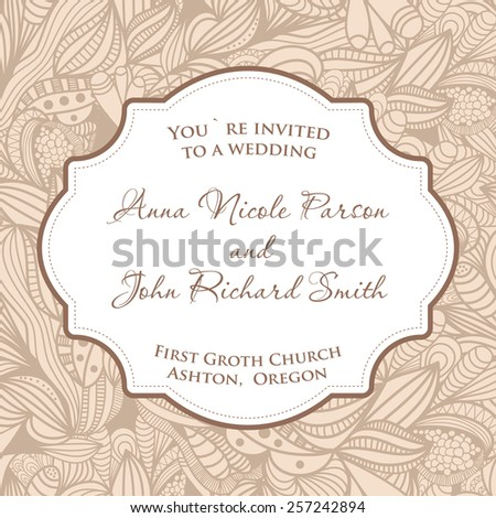 Wedding invitation card with beige seamless pattern. - stock vector