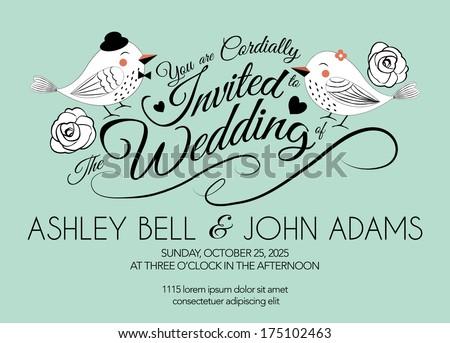 Wedding invitation card bird on mint stock vector 2018 175102463 wedding invitation card with bird on mint green background stopboris Images