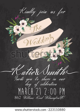 wedding invitation card with dark background Templates - stock vector