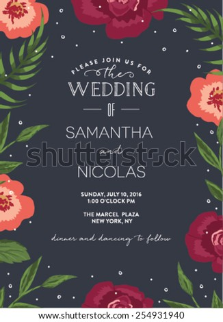 Wedding Invitation Card with Floral Background - stock vector