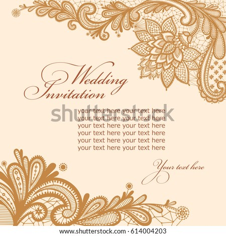 Wedding invitation card lace text vector stock vector 614004203 wedding invitation card with lace and text vector greeting card stopboris Image collections