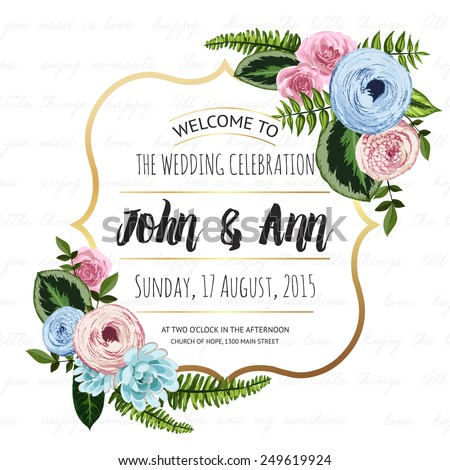 Wedding invitation card with painted flowers and plants on seamless lettering background. Gold frame, cute design - stock vector