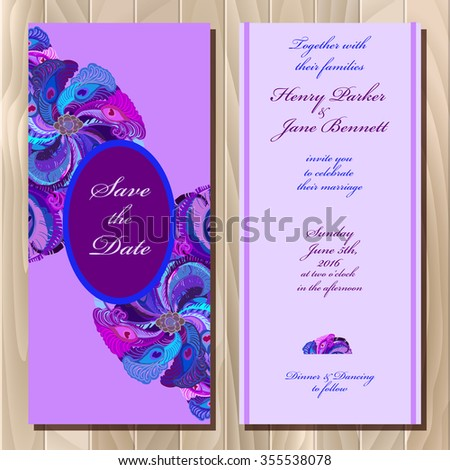 Wedding invitation card with peacock feathers, vector background. Printable backgrounds set. Violet, blue, purple vertical vignette design. Vector illustration. Save the date text place. - stock vector
