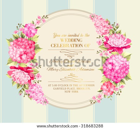 Wedding invitation card with pink flowers. Vintage wedding invitation card template with boy and girl names and flower garland. Vector illustration. - stock vector