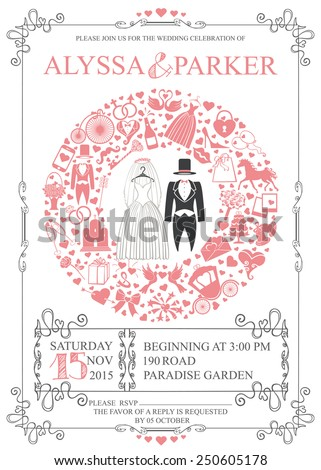 Wedding invitation card with Retro wedding garment,icons ,swirling frame.Wreath composition.Set of  wedding flat items,white silhouette.Vintage vector.Holiday infographics,background, card,.