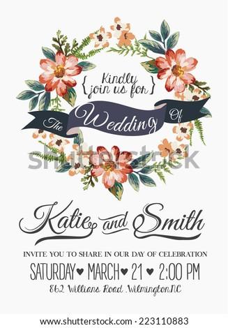Wedding invitation card romantic flower templates stock vector wedding invitation card with romantic flower templates stopboris Image collections