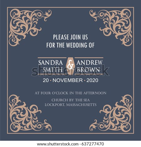 Wedding invitation card vintage floral elements stock vector wedding invitation card with vintage floral elements vector illustration stopboris Image collections