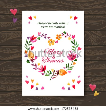 Wedding invitation card with watercolor floral bouquet. Vector background - stock vector