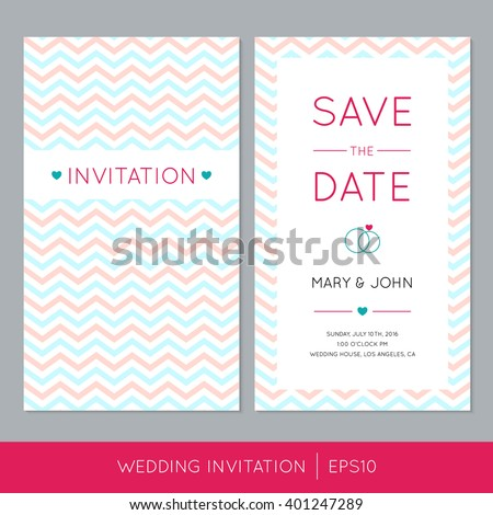 Wedding invitation card zig zag background text stock vector wedding invitation card with zigzag background and text vector save the date illustration stopboris Choice Image