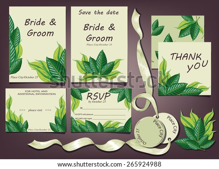 wedding invitation cards - stock vector