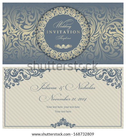 wedding invitation cards baroque style blue stock vector 168732809
