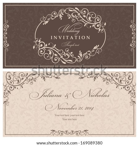 Wedding Invitation Cards Baroque Style Brown Stock Vector 169089380