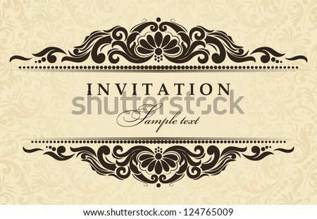 Wedding invitation cards baroque style brown stock photo photo wedding invitation cards baroque style brown and gold vintage pattern damascus style ornament stopboris Choice Image