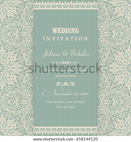 Wedding invitation cards Eastern style green and beige. Arabic  Pattern. Mandala ornament. Frame with flowers elements. Vector illustration.