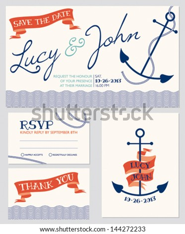 Wedding invitation cards set, nautical style, number 5